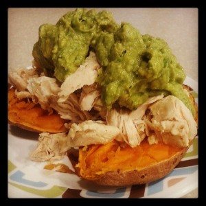 pulled chicken sweet potato
